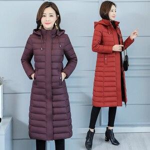Image 2 - Kurtka zimowa damska ciepły bawełniany płaszcz z kapturem długa ocieplana kurtka z bawełny znosić długie parki 2019 nowa zimowa odzież damska