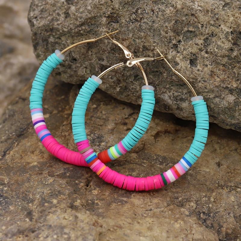Multicolor Hoop Earrings for Women 2020 Fashion Female Girls Jewelry Polymer Clay Korean Earrings Cute Gifts
