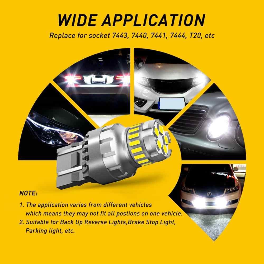2X7443 7444 T20 W21/5W LED Light untuk Lada Kalina Granta Vesta VW Audi DRL LED 12V 6500K Putih Super Terang 3030 4014 SMD
