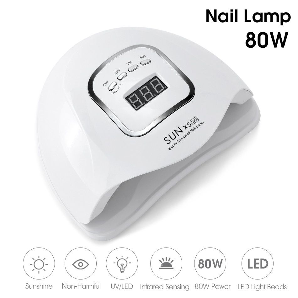 ROHWXY Sun X5 MAX Nail Gel Lamp 80W Nail Dryer For All Gel Varnish UV LED Ice Lamp With LCD Display For Nail DIY Manicure Tools 2