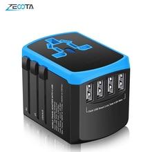 Universal Power Travel Adapter Worldwide International Power Adaptor with Smart 2.4A 4 USB Charger European UK US Converter Plug