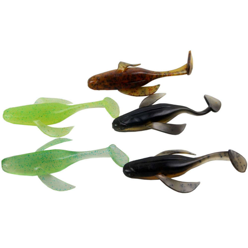 Mixed Minnow Soft Plastic Artificial Fishing Lure Bait 4'' Drop Shot Tackle Bait