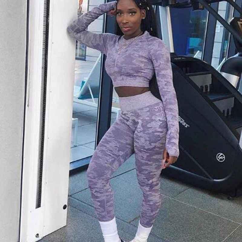 Mais novo conjunto de yoga mulheres sem costura camuflagem mangas compridas topos cintura alta leggings fitness esporte ginásio camo ternos calças de treino apertadas