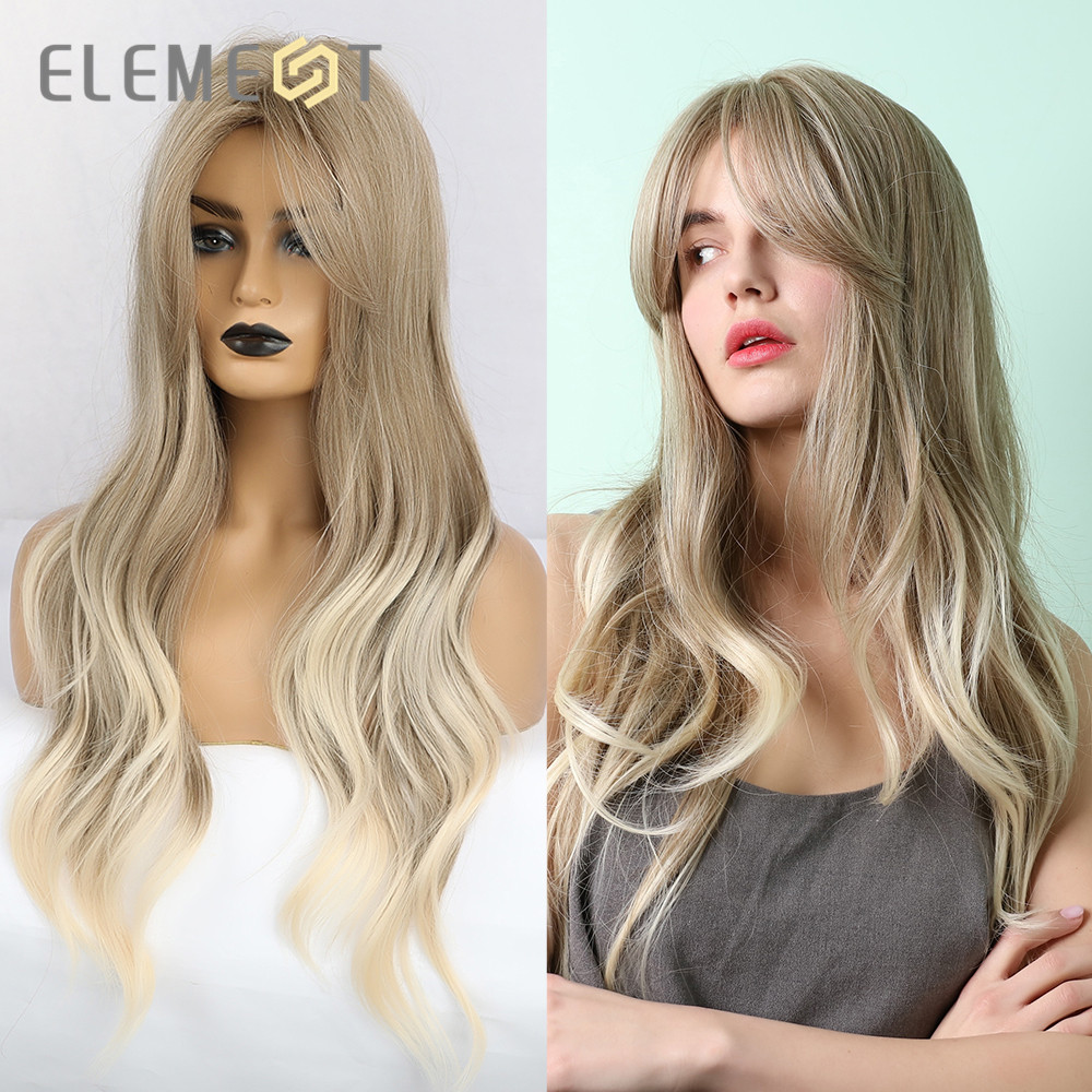 Element Long Natural Wave Hair Synthetic Ombre Blonde Brown Party Wigs With Bangs For White/Black Women Heat Resistant Fiber