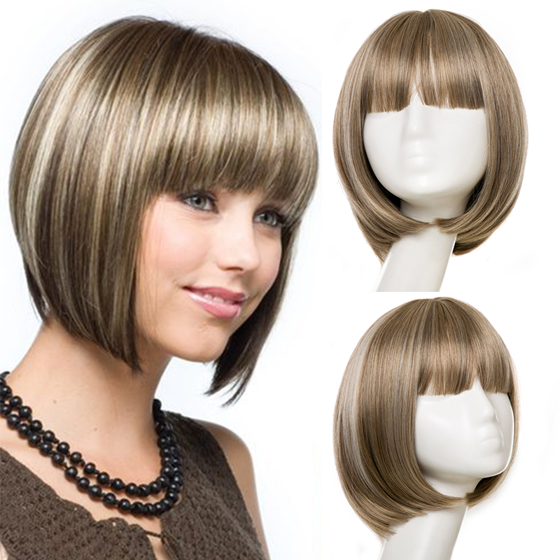 Short  Straight Bob Hairstyle Hair Wigs With Bangs Heat Resistant Synthetic Wigs For Women Golden Brown  Cosplay Natural Wigs
