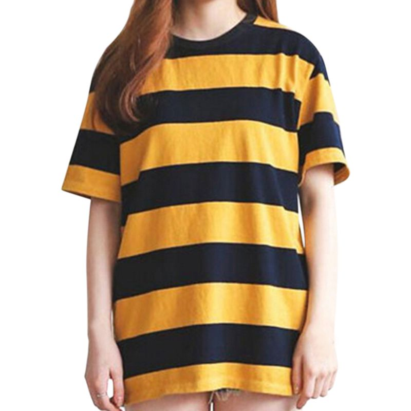 Women Yellow And Black Striped Round Neck Collar Loosen Half Sleeve Casual T-Shirt Tops