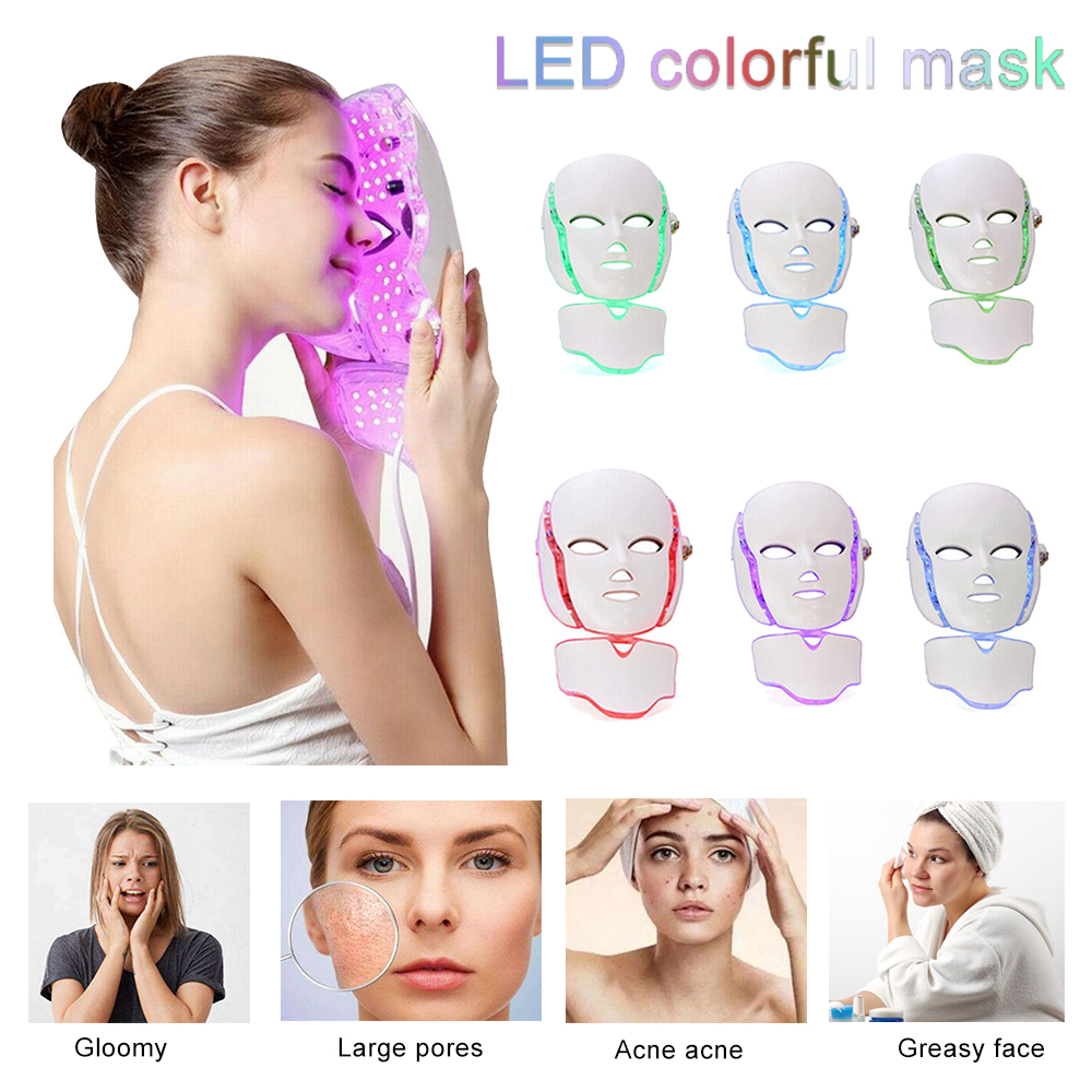7 Colors Electric Led Facial Mask Face Mask Machine Light Therapy Acne Mask Neck Beauty Led Mask Led Photon Therapy