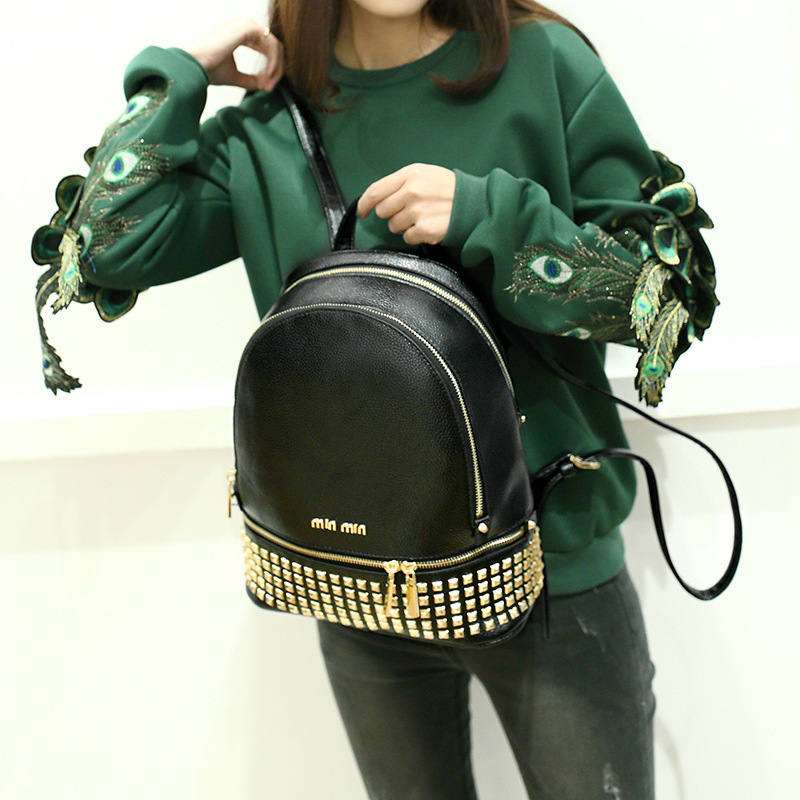2018 WOMEN'S Backpack South Korea-Style Rivet College Style Backpack Schoolbag