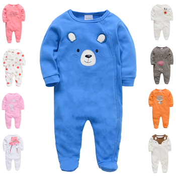 autumn baby footies 100% cotton long sleeve fleece footie pajamas warm for newborn baby infant boy girl outfit baby clothes New Born Baby Footies Jumpsuits 0-12M Blue Cartoon Cotton long Sleeve Pajamas For Baby Boy Girl Infant Toddler Ropa Bebe