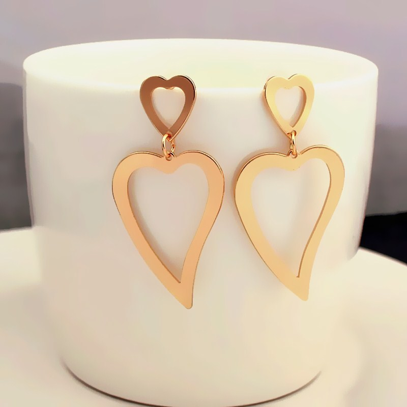 Exaggerated Geometric Hollow Out Gold Color Big Metal Drop Earrings For Women Wedding Heart Statement Jewelry Charm Brincos