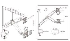 Image 5 - Nb f100a braço da mola de gás 22 35 polegada monitor de tela suporte 360 gire o braço da montagem do monitor do desktop do giro da inclinação com dois portos usb3.0