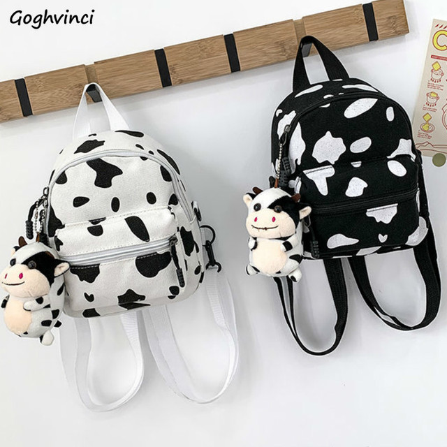 Backpacks Women Cow Pattern Small Canvas Schoolbags Chic Harajuku Large Capacity Multi-Function Kids Lightweight Teenage Casual