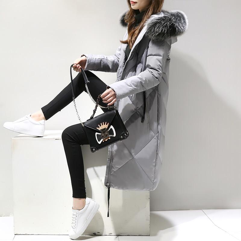 Winter New Women's Down Jacket Large Fur Collar Hooded Korean Warm Long Coat Parkas Female Jackets Camperas Mujer KJ462