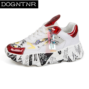 Image 1 - 2020 New Womens Thick soled Sneakers Thick soled Autumn Shoes Sequins Casual Bling Female Red lady Dad Shoes Zapatillas Mujer
