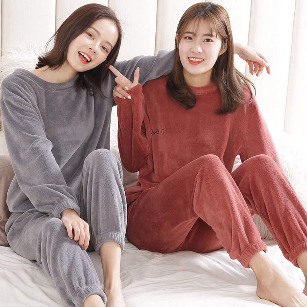 Women Warm Flannel Pajama Set Thicken Girl Set Long Sleeve Warm Sleepwear Suit Women Nightshirt Set