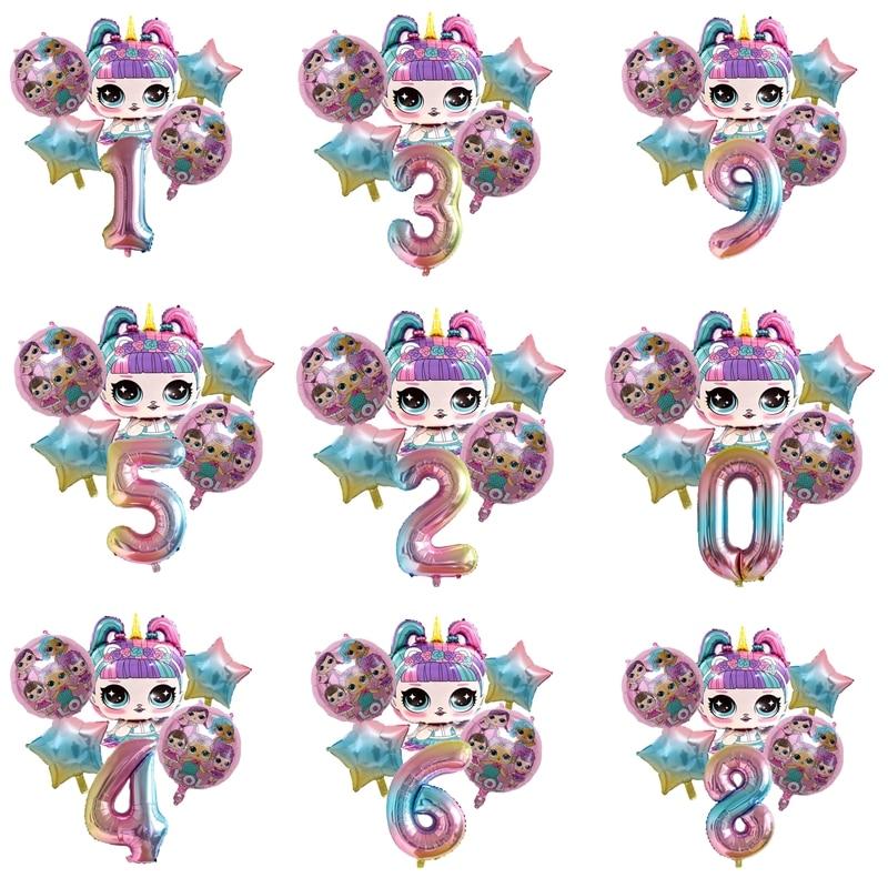 6 pçs lol surpresa bonecas brinquedo de aniversário crianças meninos meninas festa de aniversário decoração fundo balão ação brinquedos presentes para crianças