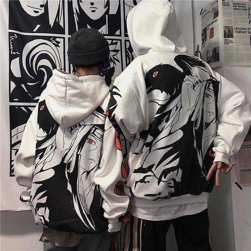 Anime Naruto Hoodies Streetwear Couple Winter Coat Fashion Loose Cartoon Sasuke Japan Hoodie Sweatshirt Unisex Hoodie Men Womens 4