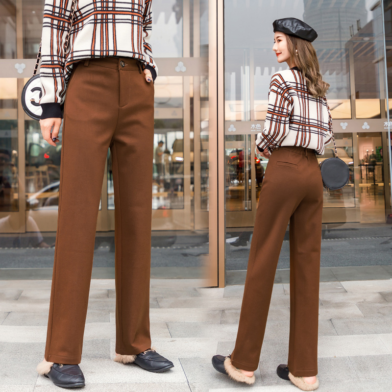 women wool   wide     leg     pants   2019 autumn winter new fashion thick warm woolen   pant   casual harem trousers office lady Pantalon