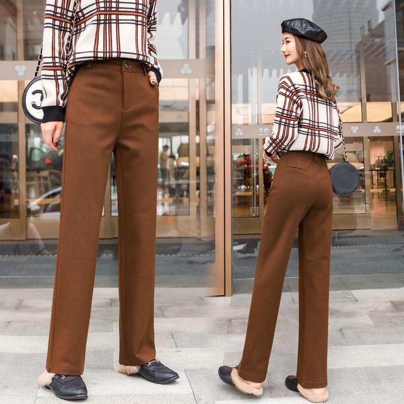 Women Wool Wide Leg Pants 2020 Autumn Winter New Fashion Thick Warm Woolen Pant Casual Harem Trousers Office Lady Pantalon