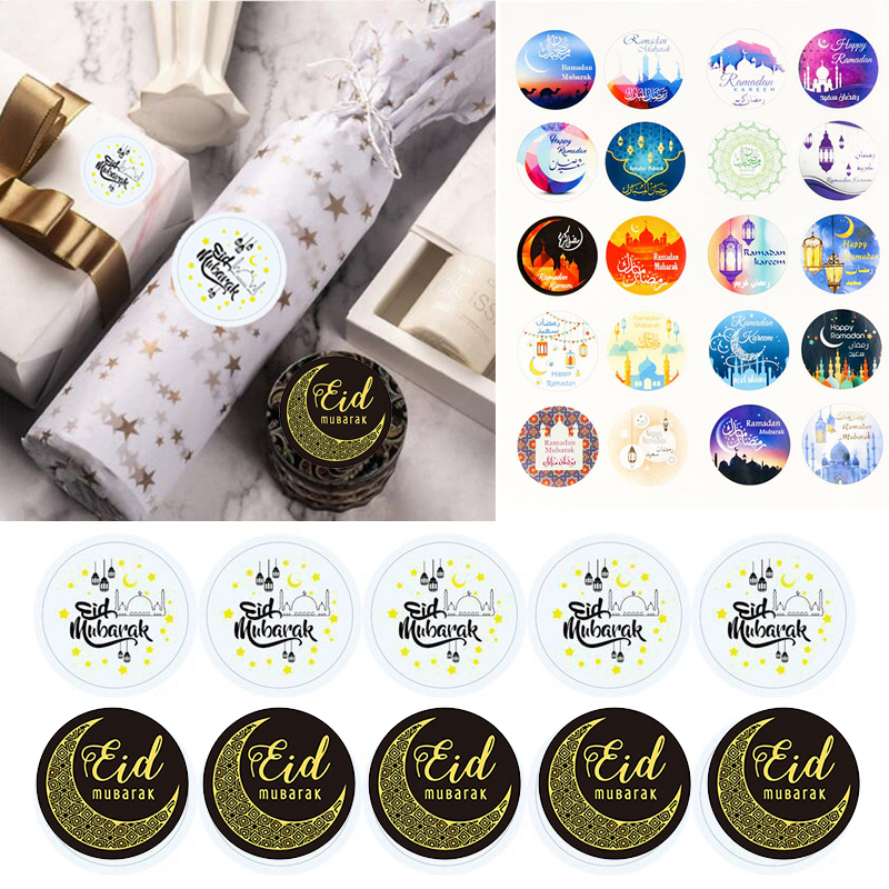 60/100pcs Eid Mubarak Decoration Paper Stickers Lable Seal Gift Stickers Ramadan Mubarak Eid Decorations Islamic Muslim Gifts