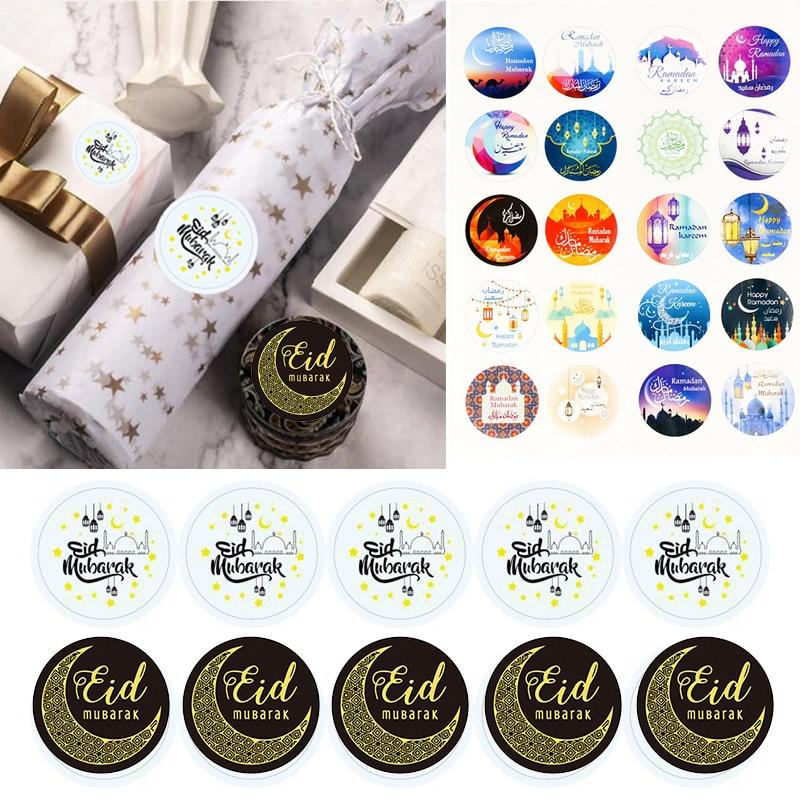 60/100pcs Eid Mubarak Decoration Paper Stickers Lable Seal Gift Stickers Ramadan Mubarak Eid Decorations Islamic Muslim Gifts