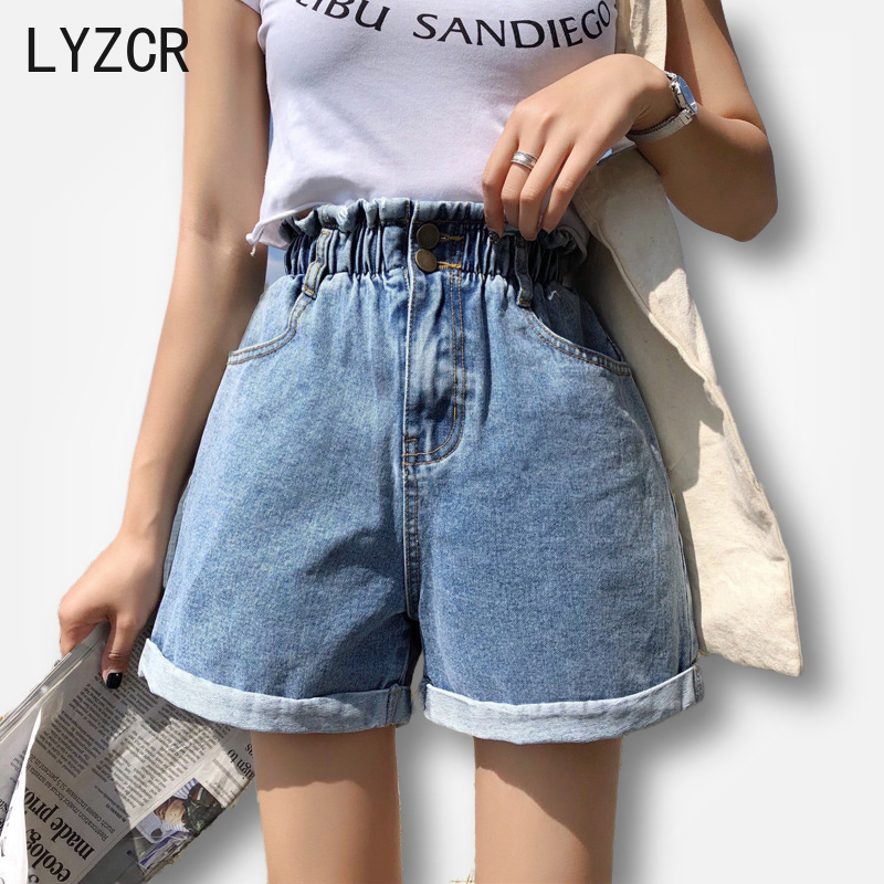 LYZCR Womens Summer Shorts Jeans For Women Loose High Waist Denim Shorts Women Elastic Waist Wide Leg  Ladies Jeans Short Female