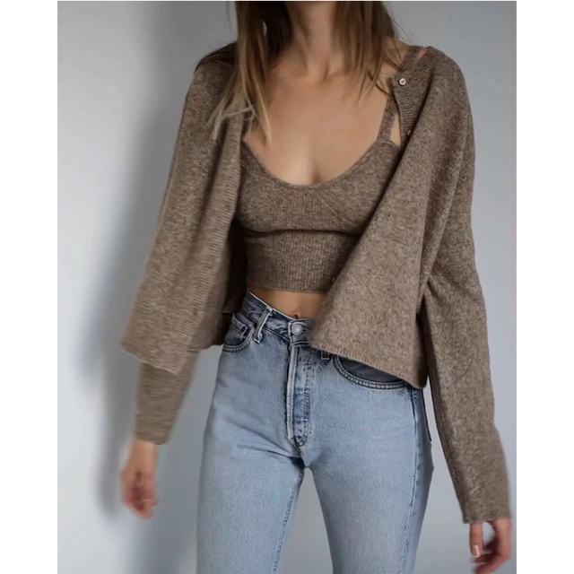 ZA 2020 spring new women's solid khaki cardigan knitted sweater Casual two pieces set fashion streetwear sexy female tops 4