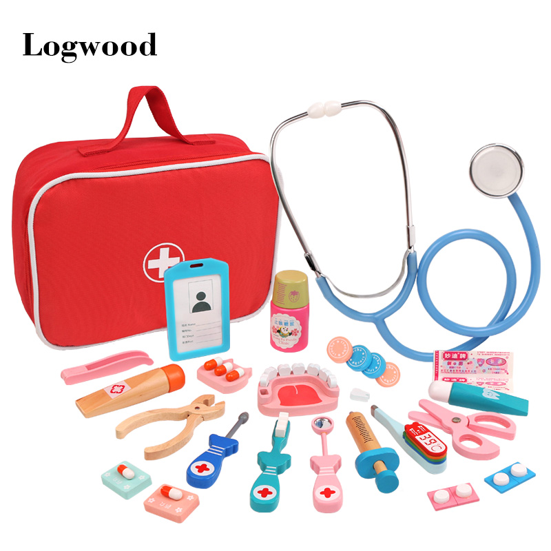 Juego de simulación de madera, juguetes de Doctor Educationa para niños, conjunto de botiquín de simulación médica para el desarrollo de interés de los niños