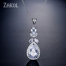 ZAKOL Shinny Water Drop CZ Zirconia Leaf Pendant Necklaces For Women Fashion Anniversary Bridal Wedding Jewelry FSNP2109