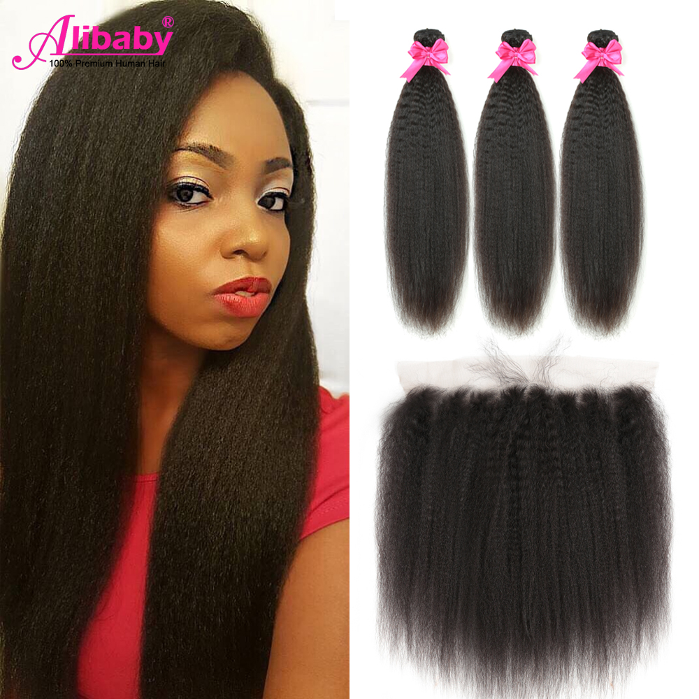 Brazilian Hair Weave Bundles With Frontal Kinky Straight Hair Yaki Human Hair Bundles With Frontal 30 Inch Bundles With Frontal