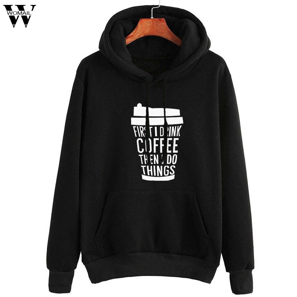 Womail Women Sweatshirts Hooded Long Sleeve Hip Hop Sport Korean Casual Pockets Autumn Fahion Letter Print Campus Sweatshirt 85