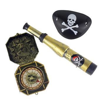3Pcs Children Kid's Pirate Party Toys Supplier Plastic Pirate Patch with Skull Dress Up Prop Compass Mini Telescope Halloween
