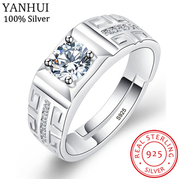 цена YANHUI Men Adjustable Rings Wholesale 925 Jewelry Sterling Silver Wedding Rings FineJewelry Zircon Engagement Ring for Men JZ201 онлайн в 2017 году