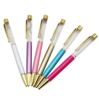 100Pcs High-End DIY Production Crystal Color Ballpoint Pen Metal Empty Pen Birthday Valentine's Day Gift Color Random