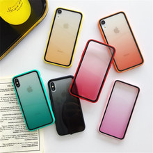 Gradiente cor clara caso de telefone duro para iphone x xr xs max caso para iphone 7 8 6 s plus candy color caso capa traseira(China)