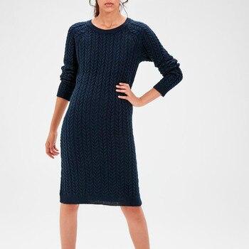 Trendyol Navy Knit Pattern Sweater Dress TWOAW20EL0038