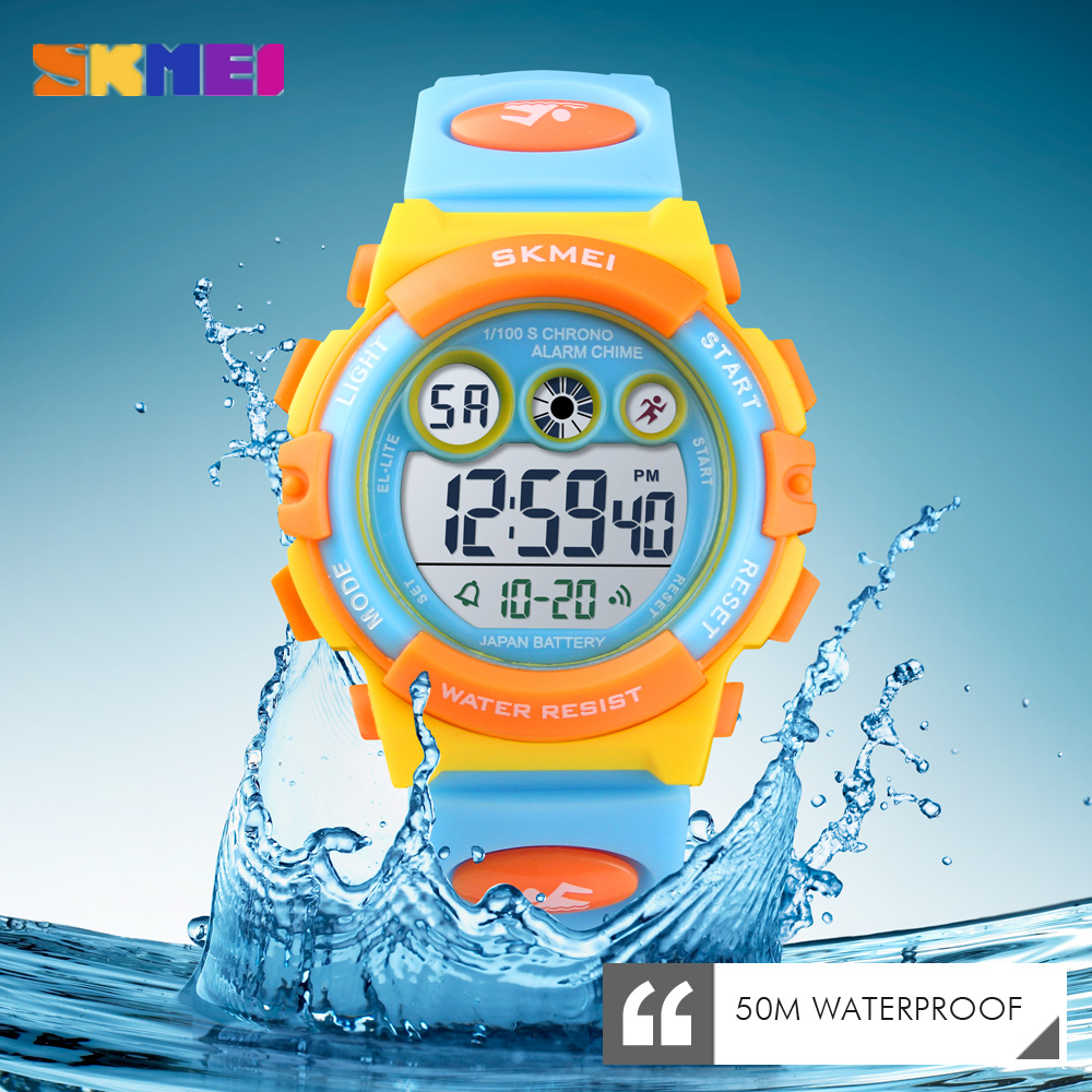 <font><b>SKMEI</b></font> Kids Digital Watch 50m Waterproof LED Sport Children's Watch for Boys Girls Alarm Date Electronic Watches Child Gifts image