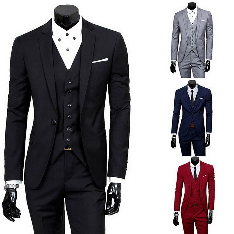 2020 Hot Sale Men's One Buckle Business Suits Jacket Plus Size Male Blazers Mens Coat Wedding Suit + Vest + Pants 3 Pieces Sets