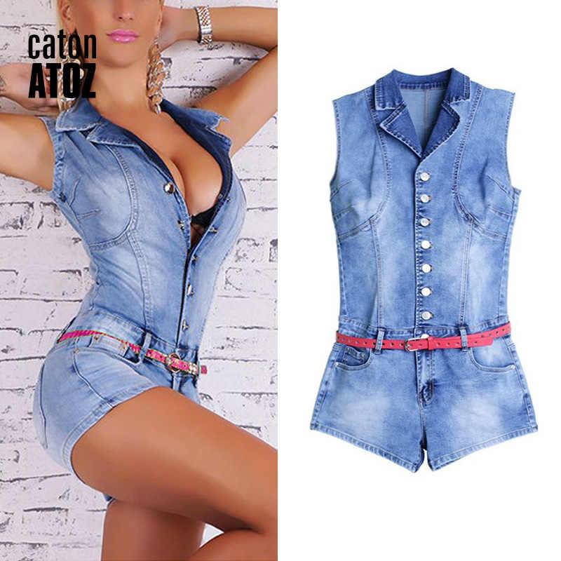 CatonATOZ 2101 эластичные комбинезоны без рукавов женские костюмы джинсовые комбинезоны брюки боди джинсы