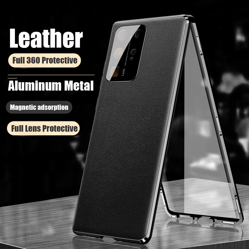 Luxury Magnetic Metal Leather Case For Huawei P40 Pro Phone 360 Full Body Protective Lens Protector Built in Magnet Bumper Cover