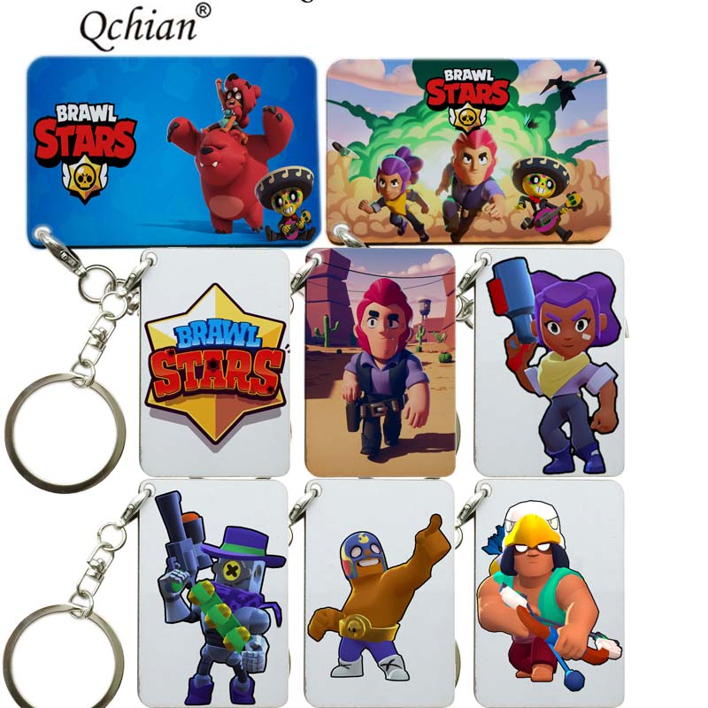 Game Brawl Stars Keychain Boyfriend Game Team Mate Gift Jewelry Wooden Key Chain Ring Car Bag Pendant Charms Llaveros 6cm*4cm