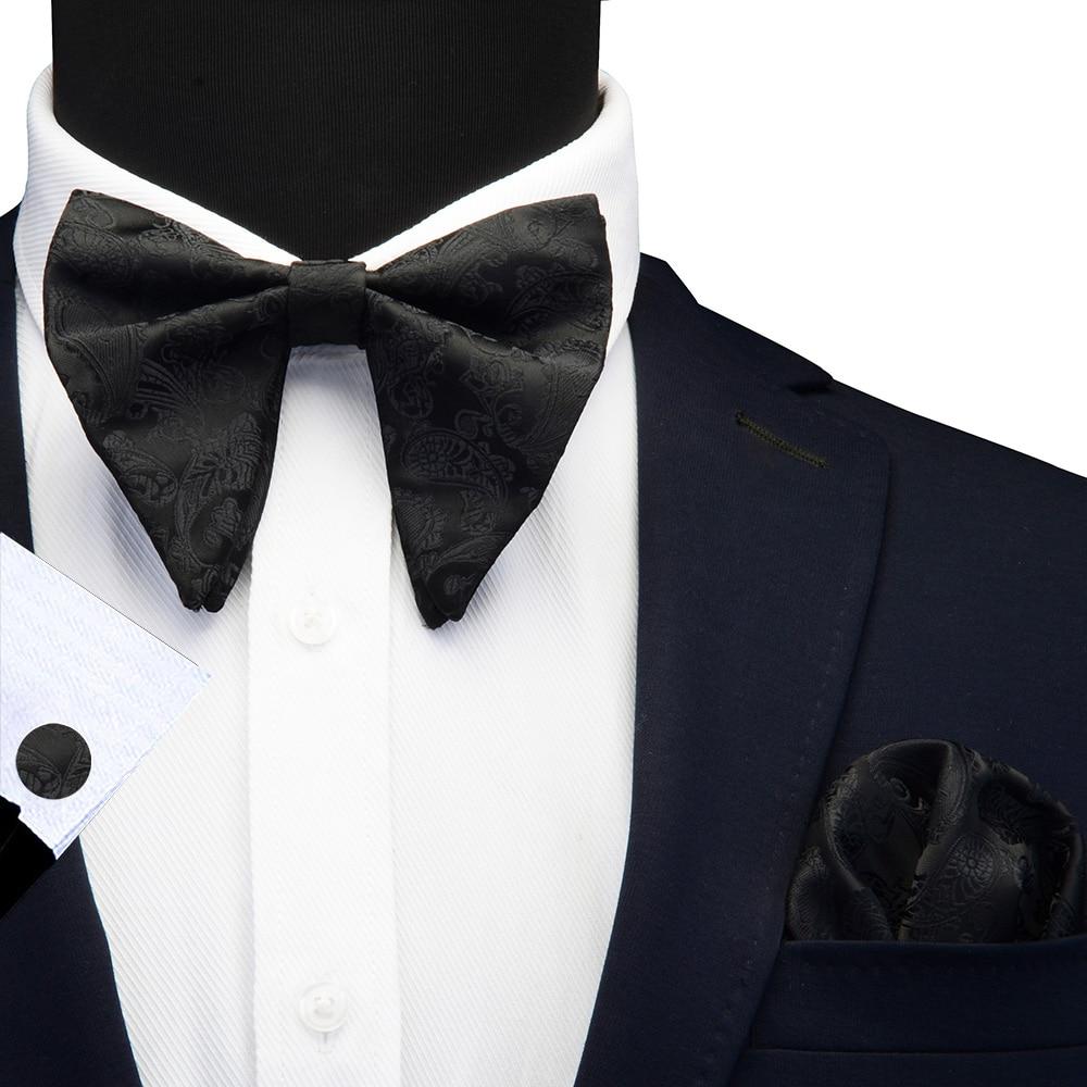 Ricnais New Design Paisley Silk Big Bow Tie Handkerchief Cufflinks Set For Men Business Wedding Bowtie Pocket Square Gifts Ties
