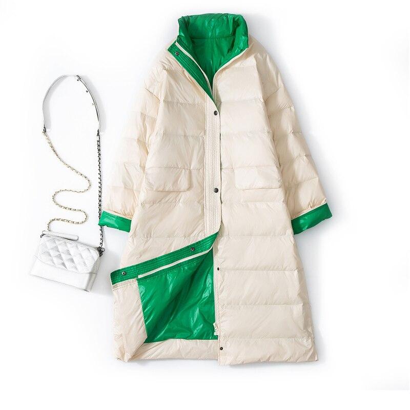 New Women 90% Ultra Light White Duck Down Jacket Winter Long Coat Female Loose Windproof Down Coat