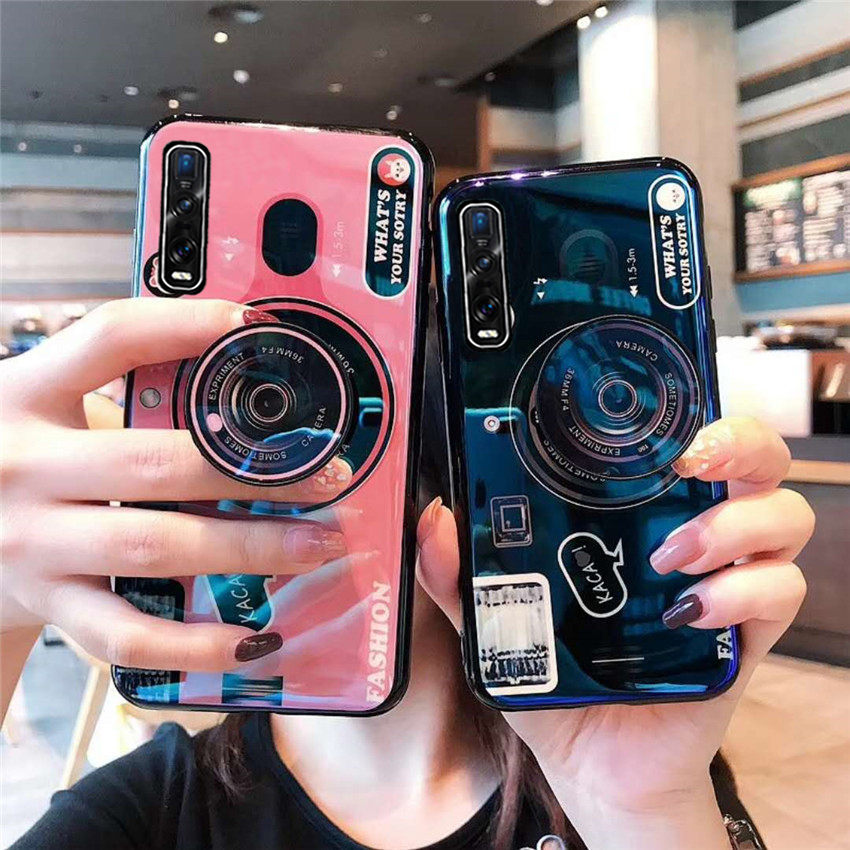For Realme X50 X2 Pro XT 5Pro 6Pro C3 Camera <font><b>Case</b></font> Silicone Phone Cover for <font><b>OPPO</b></font> <font><b>A5</b></font> A9 <font><b>2020</b></font> A91 Reno3 Pro 2Z Find X2 With Holder image