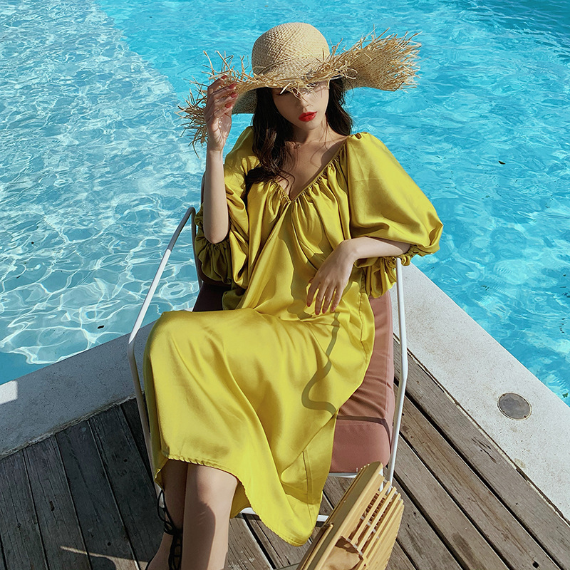 Photo Shoot Bali Thailand Holiday Beach Skirt Loose-Fit Satin V-neck Backless Long Skirts Seaside Slimming One Piece