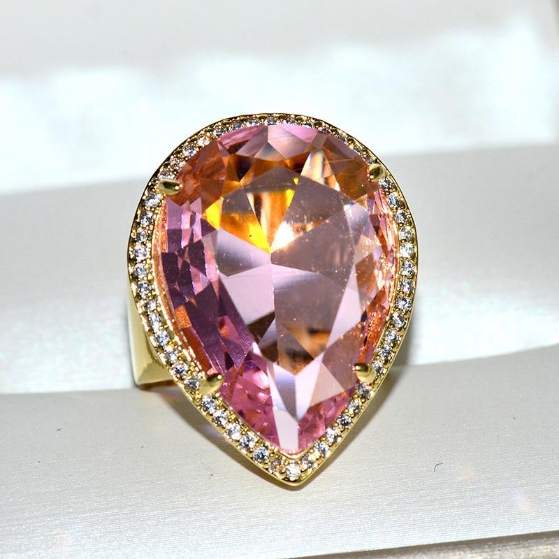Euro-American Fan Sui Sells Hot-selling Water Drop Crystal Rings Luxurious Gem-like Couple Ring