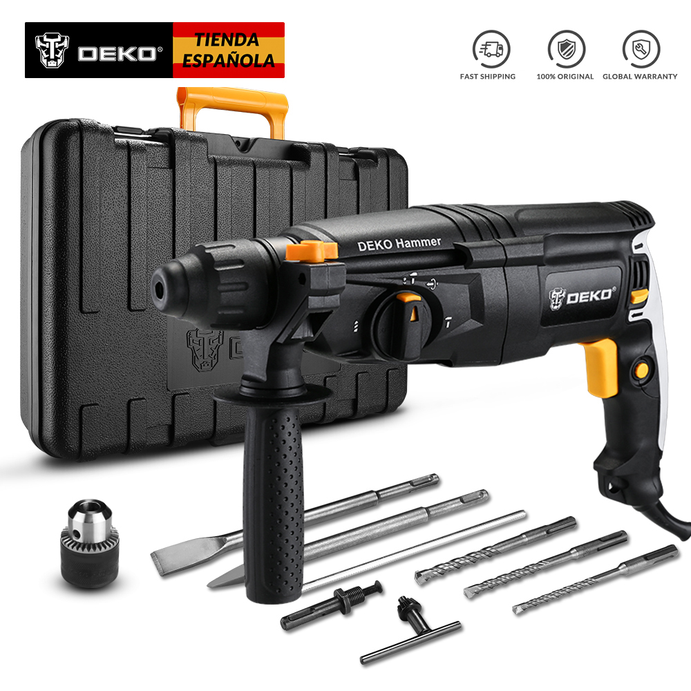 DEKO GJ181 220V 30mm 4 Functions AC Electric Rotary Hammer with BMC and 5pcs Accessories Impact Drill Power Drill Electric Drill