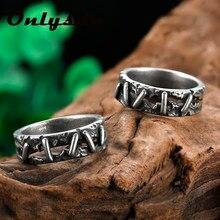 Estilo coreano antigo vintage anel de aço inoxidável frankenstein carne anéis de casamento masculino biker jóias presente anel masculino