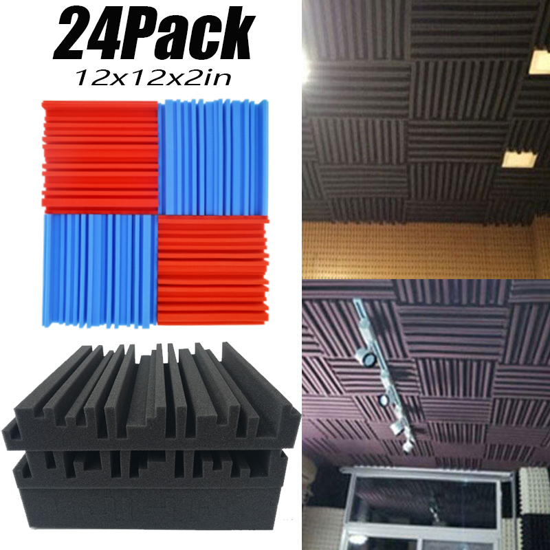 24Pack-Groove Acoustic Foam Recording Studio Live Sound Treatment  Ceiling Soundproof Panels Sound Absorption Tiles Fireproof 2