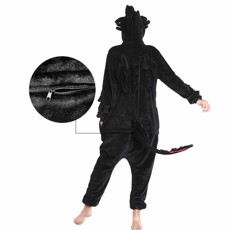 歯のないドラゴン kigurumis 黒カバーオール大人ユニセックスフランネルパジャマアニメあなたナイトフューリーパジャマホームウェアジッパースーツ
